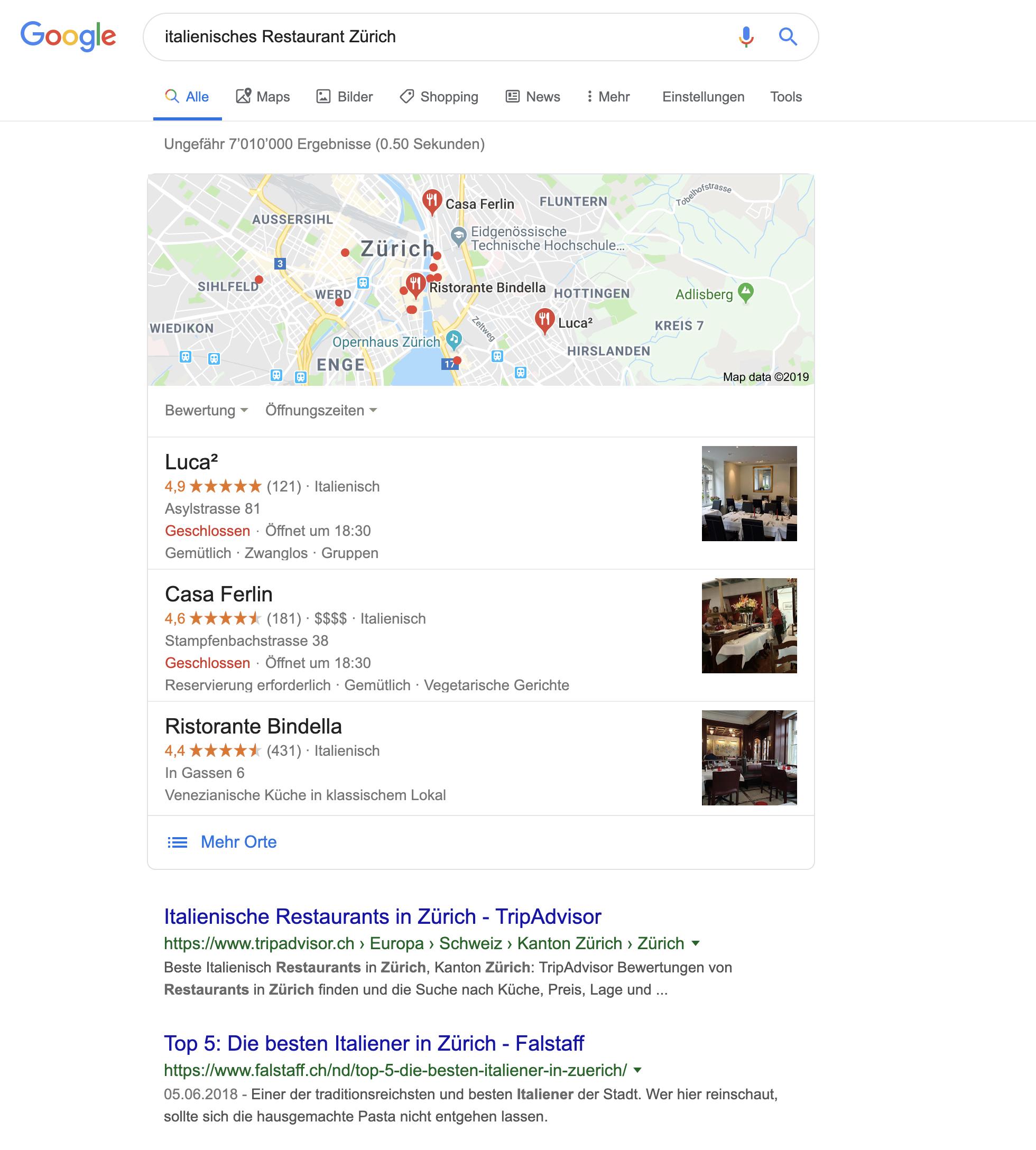 Suchergebnis über Google Local